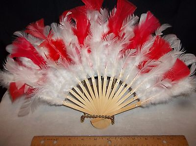 Bamboo Hand Fans with Red and White Feathers 14 in Wide opened for Vanity Table
