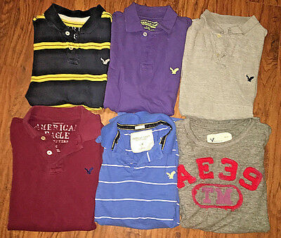American Eagle Men's Size L Lot of 6 Polo Shirts Graphic EUC! Free Shipping!
