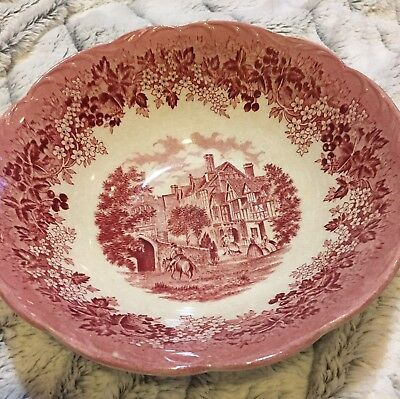 Vintage Meakin Romantic England Red Round Serving Bowl Dish West Gate Hospital