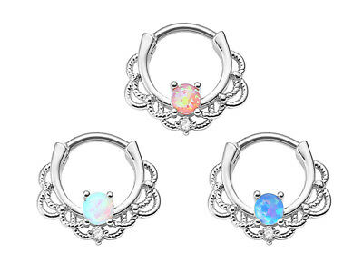 10pcs Nose Septum Ring Opalite Clicker Hinged Seamless Ear Hoop Daith Piercing