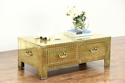 Brass Trunk Vintage Coffee or Cocktail Table, Copper Rivets, Signed Sarreid