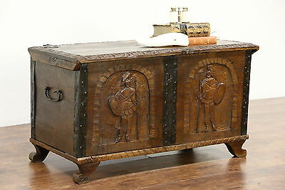 Norwegian 1750 Antique Oak Trunk or Dowry Chest, Hand Carved Soldiers