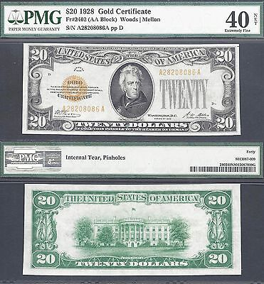 $20 1928 GOLD CERTIFICATE=Fr 2402=EXCEPTIONAL COLOR=PMG EXTREMELY FINE 40 NET