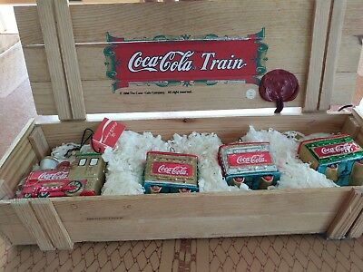 Coca-Cola Christmas Ornaments 1996 Train Blown Glass 4 in Wood Box Kurt Adler