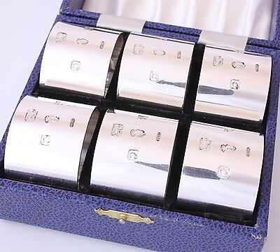 Extra Heavy Solid Sterling Silver Napkin Rings 6 Boxed. Hallmarked Vintage 396g