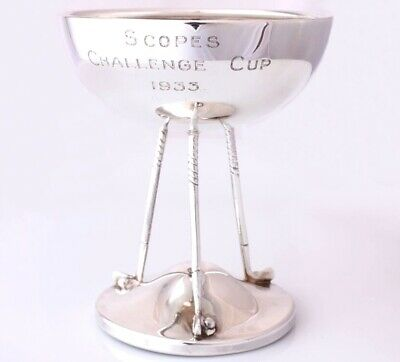 Solid Silver Golf Club & Ball Golfing Trophy Cup 1928. Scopes Challenge Cup 1933
