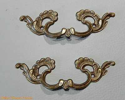 Vintage 2 french gold brass drawer pull ornate pediment furniture