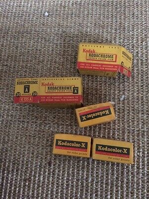 Vintage Kodachrome K135 35mm Type A Kodacolor-x Lot Canisters 1955
