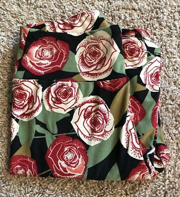 Lularoe Leggings One Size- Red And White Roses- Floral