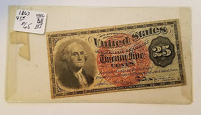 1863 25 Cent Fractional Currency - 4th Issue - Free Shipping