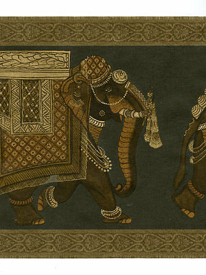 Raymond Waites Black And Gold Elephants Wallpaper Border