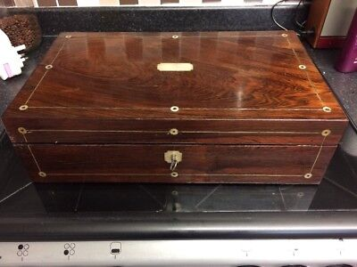 Large Victorian Rosewood Mother of Pearl Inlay Writing Slope,