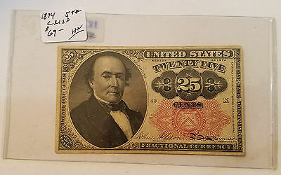 1874 25 Cent Fractional Currency - 5th Issue - Free Shipping - Lot 10