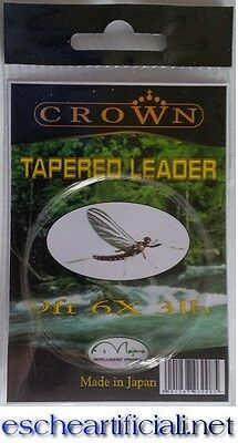 Crown finali conici pesca mosca 15' 3X 0.20 mm tapered leader Japan