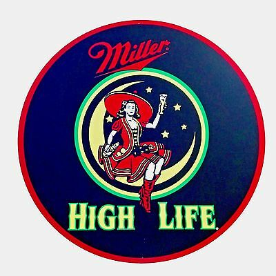 """Miller High Life - Lady In the Moon Metal Sign - 24"""" Diameter"""
