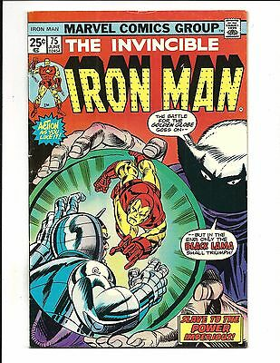 IRON MAN # 75 (BLACK LAMA & YELLOW CLAW apps. JUNE 1975), FN/VF