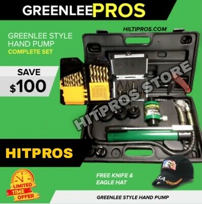Greenlee Style Hydraulic Pump Set, New, Knockout Set, Free Extras, Fast Ship