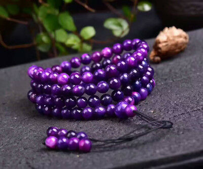 Old material royal purple suji stone 108 beads