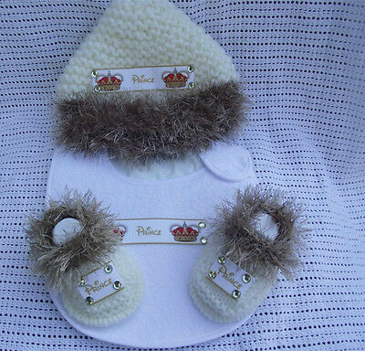 hand knitted baby  boy prince fur  booties bib  and hat   0/3 mnth
