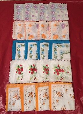 20 Pcs  Ladies Hankies Floral  Vintage Style Cotton Handkerchief