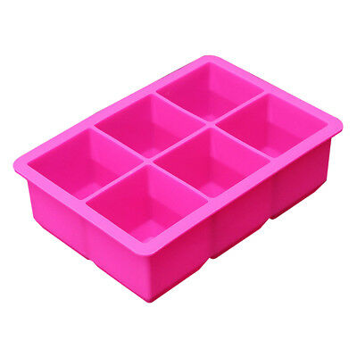 Silicone 6-Cavity Large Cube Ice Pudding Jelly Soap Maker Mold Mould Tray U8N8