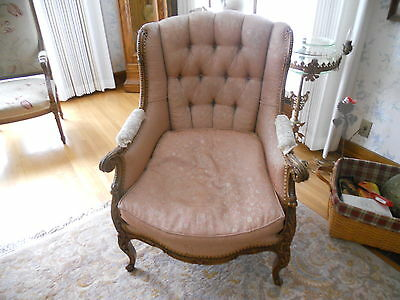 Antique Upholstered French Lounge Chair