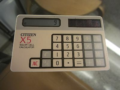 """Vintage Citizen """"x5"""" Solar Cell Calculator. Very Rare. Thin Card. Made In Japan."""