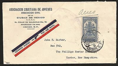 R) 1936 Mexico, Air Mail Mexico New Hampshire, With Reception