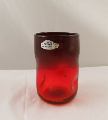 Blenko Glass Tangerine (Amberina) More Red Pinched Tumbler 4 3/4""