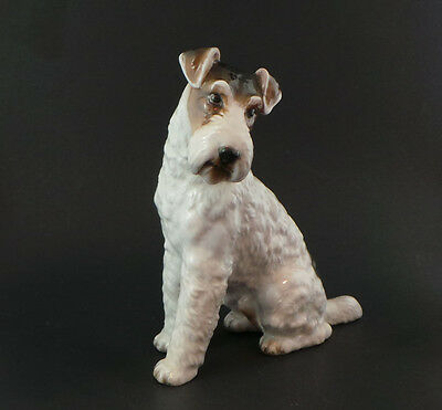 Antique Rosenthal Wire Hair Fox Terrier dog figure Germany # 7243 TLC tail glued