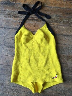 Vtg 30'sJantzen Yellow Wool Swimsuit Diving Girl Patch Bathing Suit Halter Beach