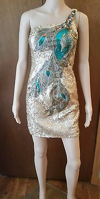 Nina Canacci 21376 Sequined One Shoulder Peacock Dress. Size 2. Gold.