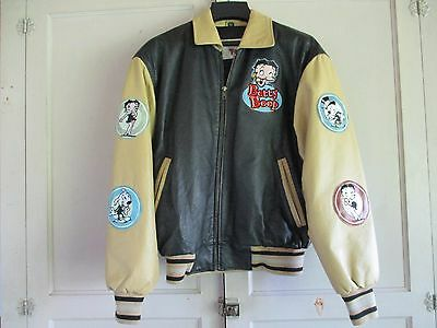 American Toons BETTY BOOP Lined Leather Jacket  Black Tan Women's  Size Small