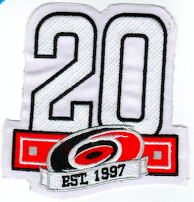 Carolina Hurricanes Patch Nhl 20Th Anniversary Year 1997-2017 Puck Style Jersey