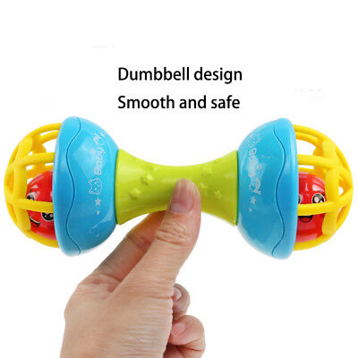 Baby Safe Silicone Rattles Bells Shaking Dumbbell Toy Bell Ball Baby Teether
