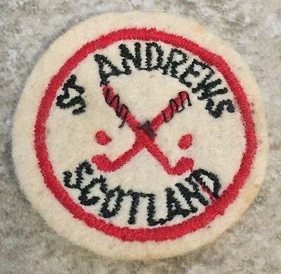 St Andrews Scotland Golf Course Club Embroidered Cloth Patch Badge Round Vintage
