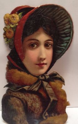 Antique Vintage Victorian Beautiful Lady in Hat Embossed Die Cut Scrap