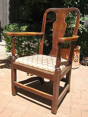 Wonderful 18th c. period English arm chair, country Chippendale, rose head nails