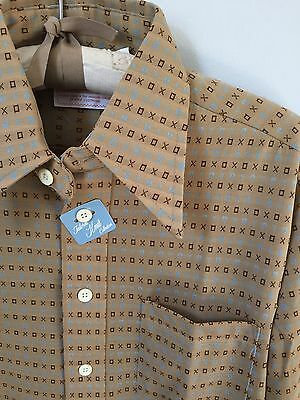 NWT Vintage Anderson-Little Polyester Print Shirt. Men. Turquoise. Brown. Medium