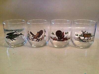 Vintage 1990s Sunoco Gas Station Promo Libbey Glasses American Wildlife Set 4