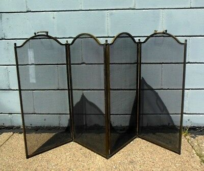 Antique Brass Bronze Four Panel Folding Fireplace Screen Architectural
