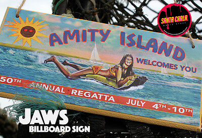 Jaws 'Amity Island/ Beach closed' double-sided billboard sign