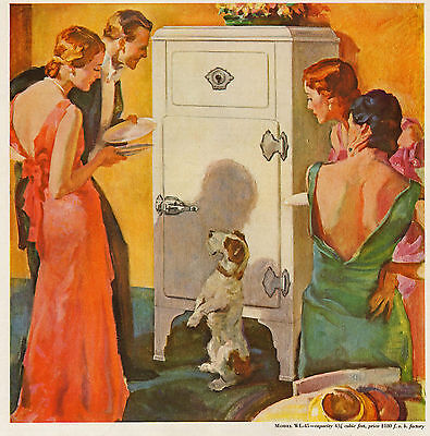 Terrier Begs for Food from Westinghouse Refrigerator - 1931 Ad - Gorgeous Art