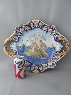 Vtg Faience French Italian ? Majolica Hand Painted Venus Art Pottery Tray