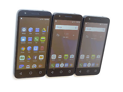 Lot of 3 Alcatel OneTouch Pixi 4 (5) 4060W Samrtphones Power On Good LCD AS-IS
