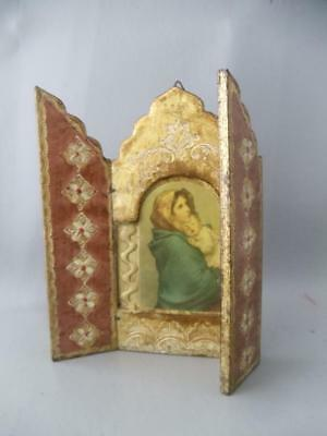 Vtg Italian Florentine Madonna Icon Tripych Hand Painted Gold Gilt Wood Plaque
