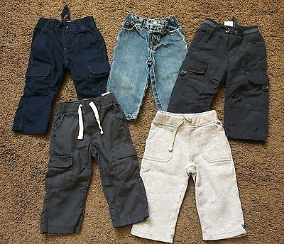 Boys Old Navy Lot Pants Size 12-18 Months Jeans Cargo Gray Baby