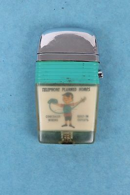 Vintage Scripto Vu Lighter Advertising Turquoise Princess Lighted Telephone