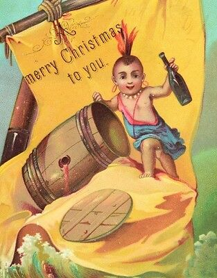1870's-80's Christmas Racial Native American Whiskey Bottle Victorian Card F81