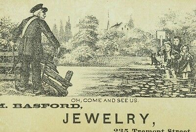 1870's-80's Engraved Comical M. Basford Jewelry Boston Victorian Trade Card F81